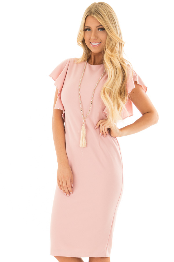 Light Pink Fitted Ruffle Dress with Pearl Detail front close up