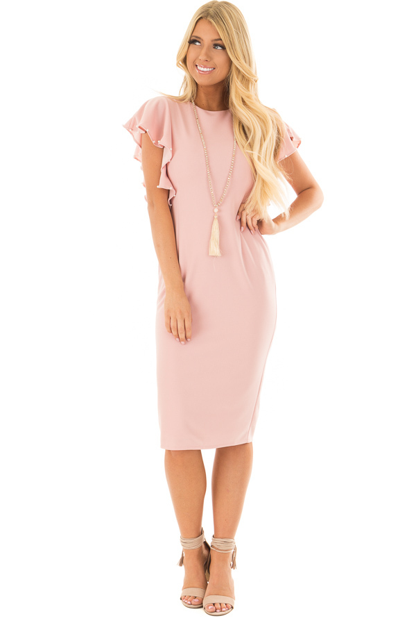 Light Pink Fitted Ruffle Dress with Pearl Detail front full body