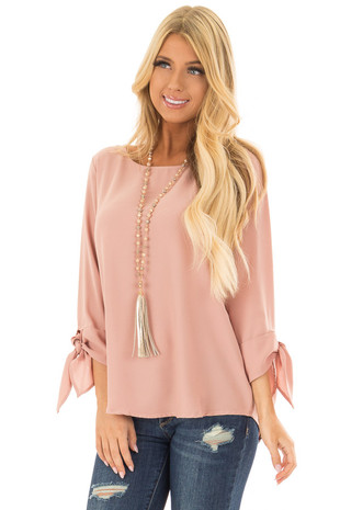 Dark Blush Tied Sleeve Blouse with Rounded Neckline front close up