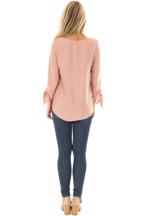 Dark Blush Tied Sleeve Blouse with Rounded Neckline back full body