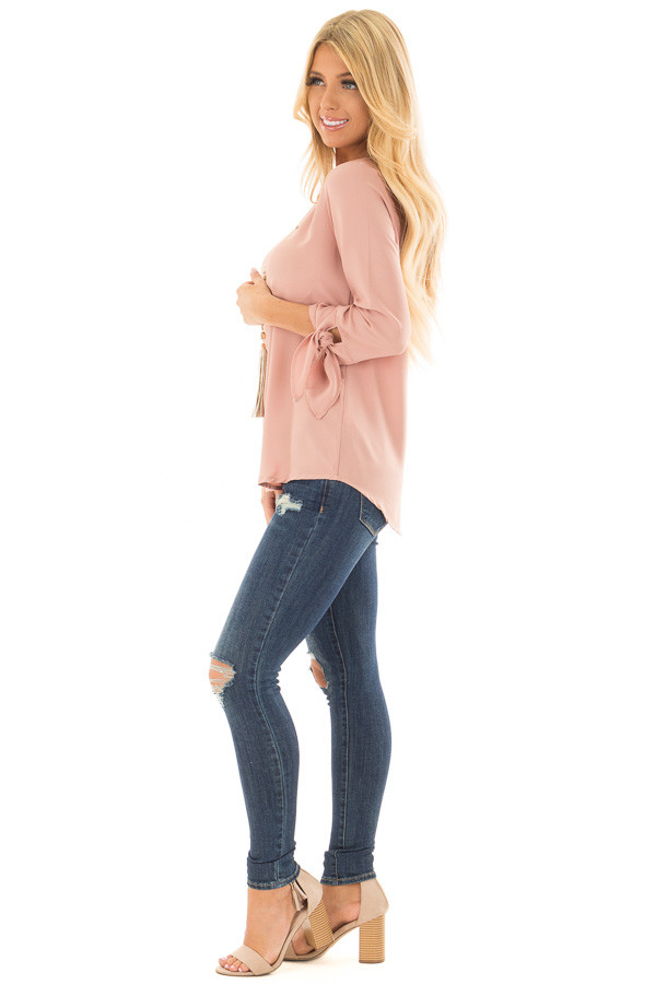 Dark Blush Tied Sleeve Blouse with Rounded Neckline side full body