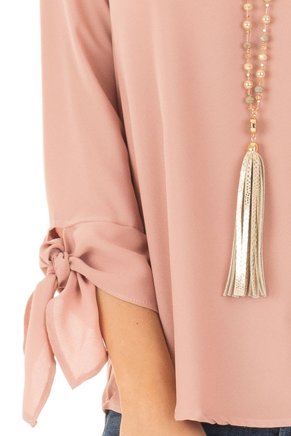 Dark Blush Tied Sleeve Blouse with Rounded Neckline detail