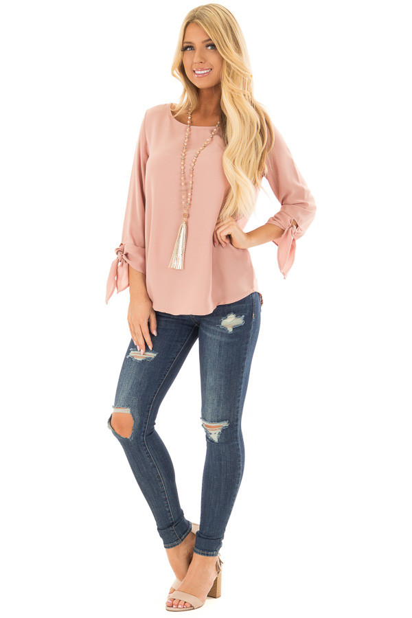 Dark Blush Tied Sleeve Blouse with Rounded Neckline front full body