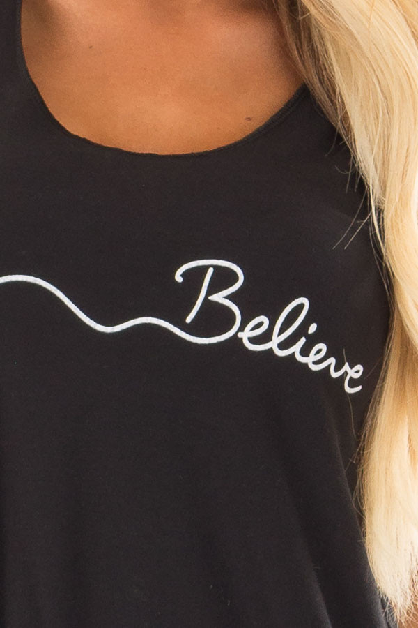 Black Tank Top with Bird and 'Believe' Print detail