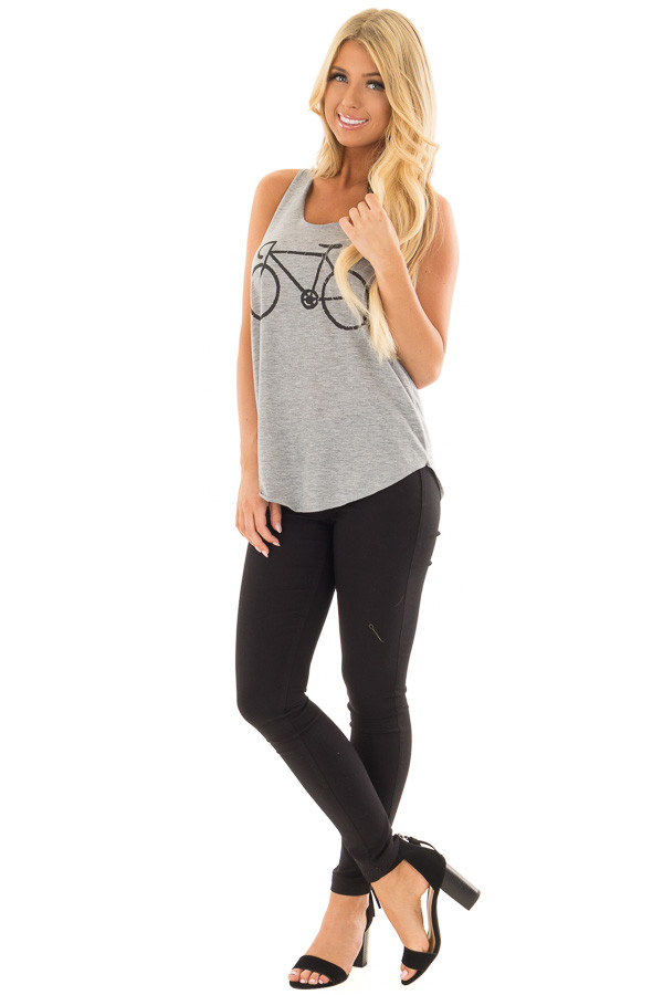 Grey Tank Top with Bicycle Print front full body