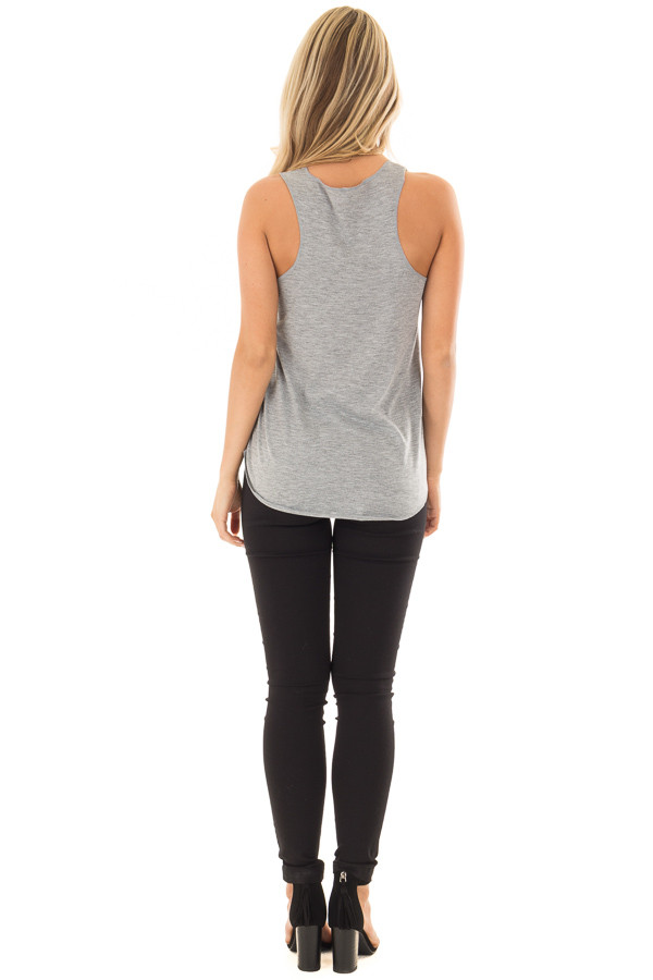 Grey Tank Top with Bicycle Print back full body
