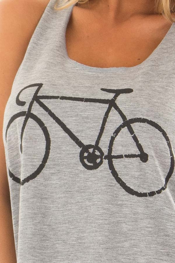 Grey Tank Top with Bicycle Print detail
