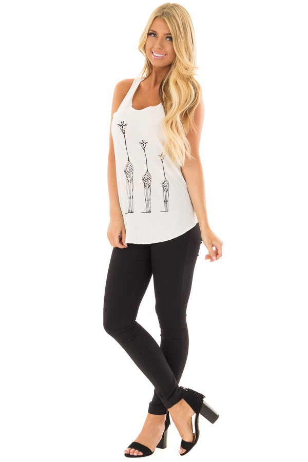 Ivory Tank Top with Giraffe Print front full body