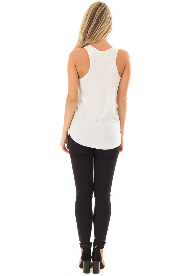 Ivory Tank Top with Giraffe Print back full body