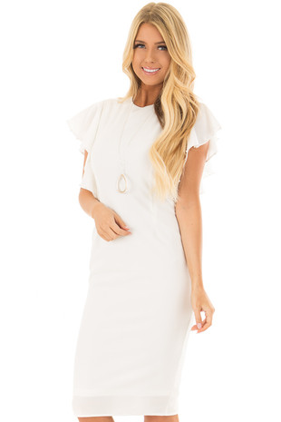 White Fitted Ruffle Dress with Pearl Detail front close up