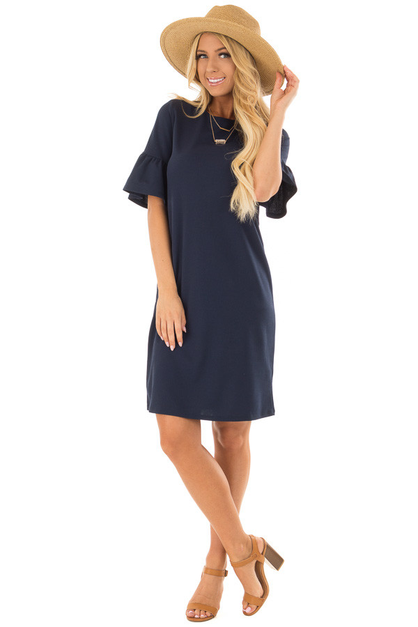 Navy Dress with Short Bell Sleeves front full body
