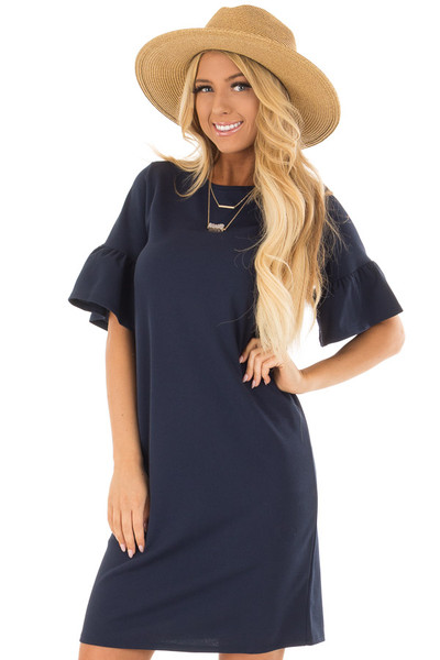 Navy Dress with Short Bell Sleeves front close up