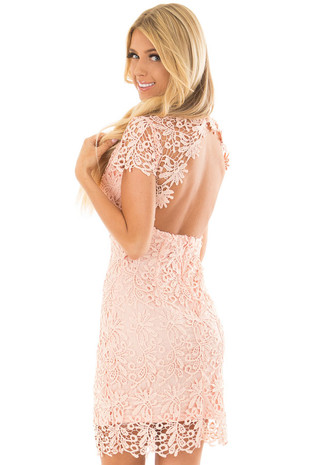 Peach Lace Dress with Open Back back side close up