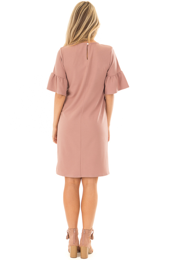 Dusty Pink Dress with Short Bell Sleeves back full body