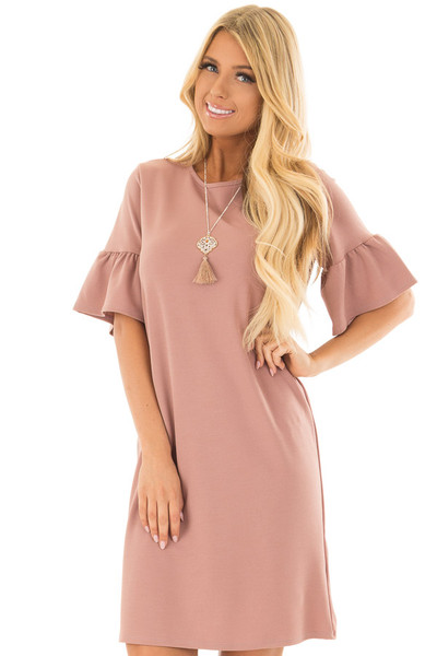 Dusty Pink Dress with Short Bell Sleeves front close up