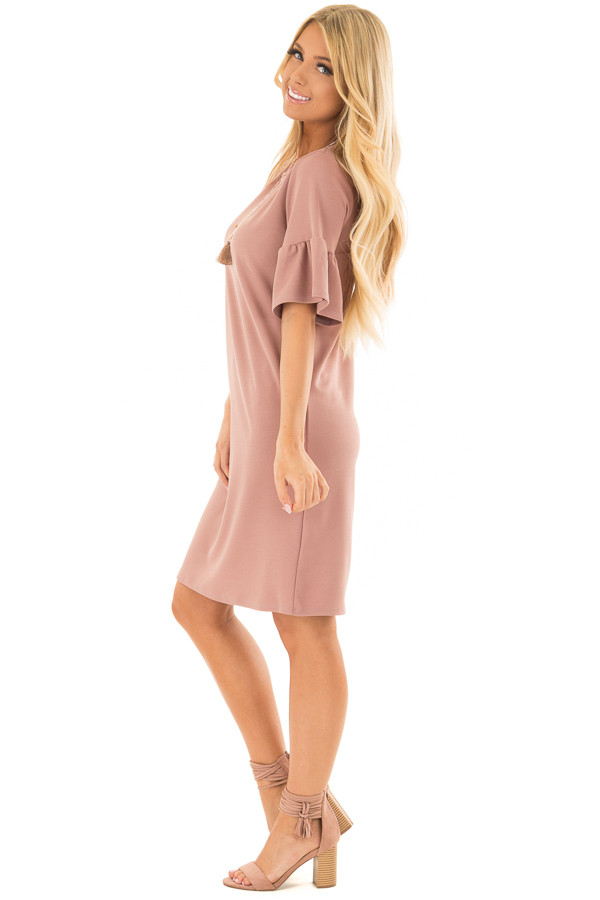 Dusty Pink Dress with Short Bell Sleeves side full body