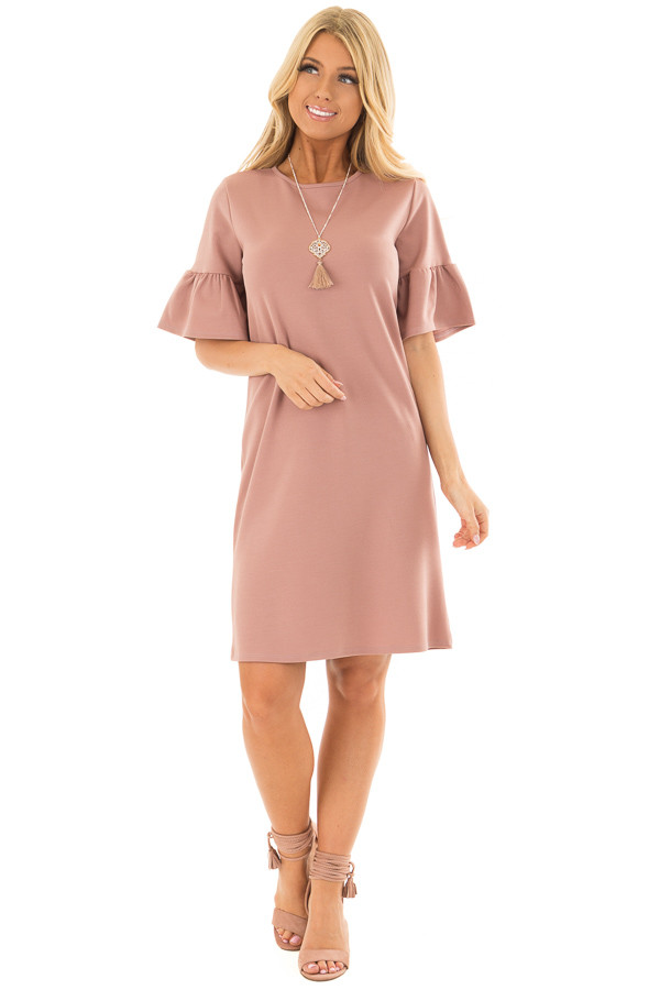 Dusty Pink Dress with Short Bell Sleeves front full body