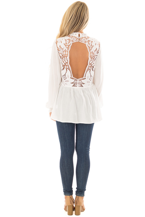 Off White Top with Sheer Lace Yoke back full body