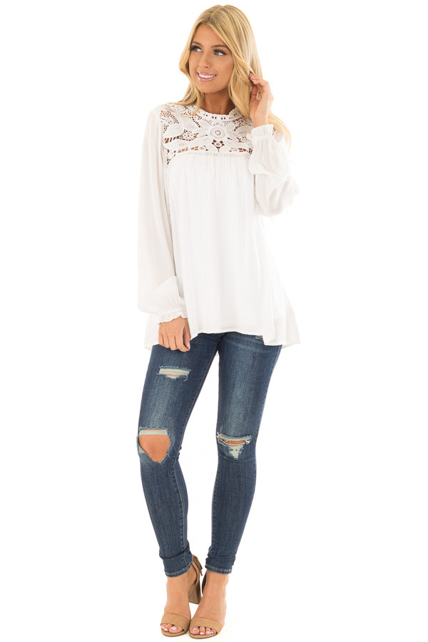 Off White Top with Sheer Lace Yoke front full body