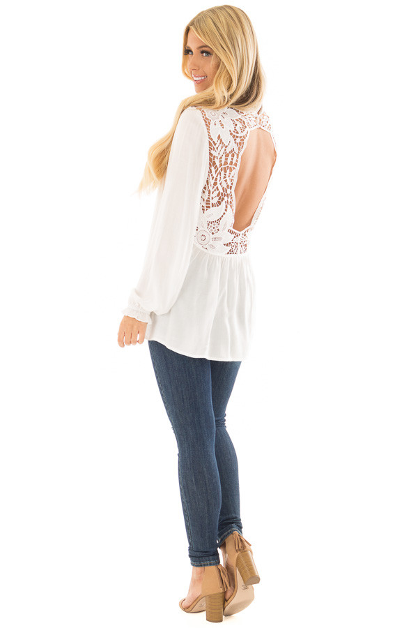 Off White Top with Sheer Lace Yoke back side full body