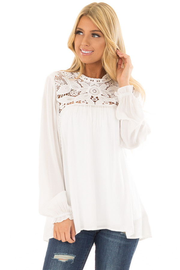 Off White Top with Sheer Lace Yoke front close up