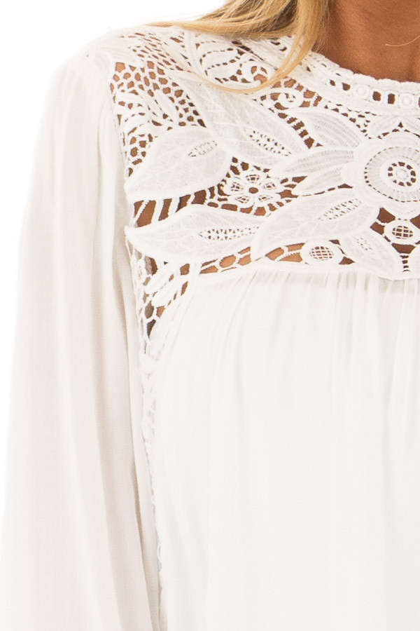 Off White Top with Sheer Lace Yoke detail