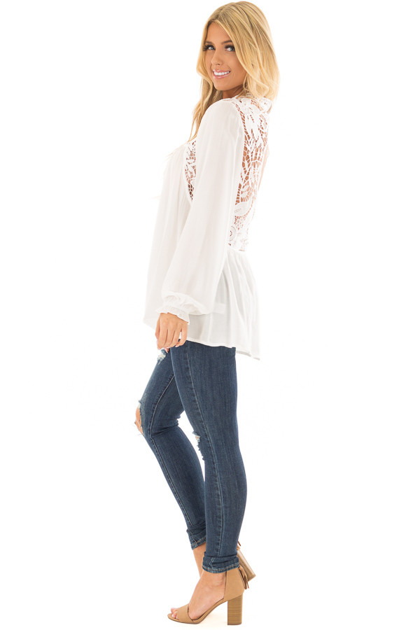 Off White Top with Sheer Lace Yoke side full body