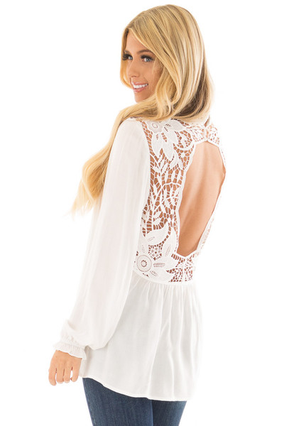 Off White Top with Sheer Lace Yoke back side close up