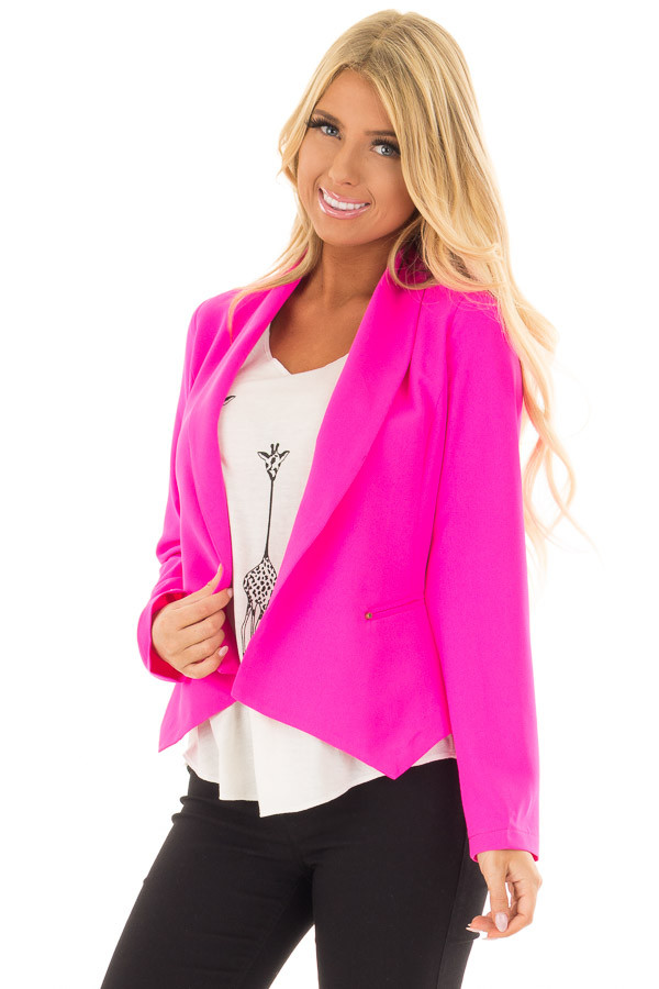 Neon Pink Open Long Sleeve Blazer front close up