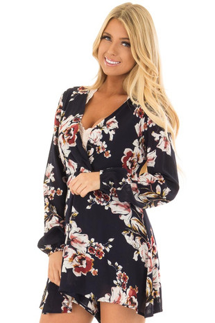 Navy Floral Twist Romper with Long Sleeves front close up
