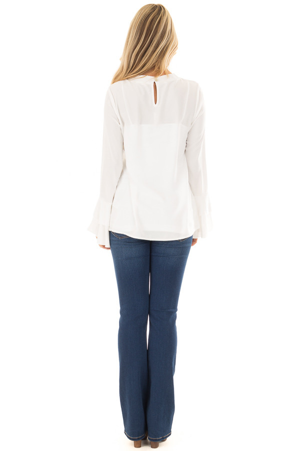 Ivory Blouse with Choker Cut Out and Tiered Bell Sleeves back full body