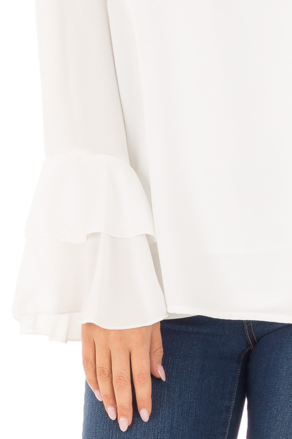 Ivory Blouse with Choker Cut Out and Tiered Bell Sleeves detail