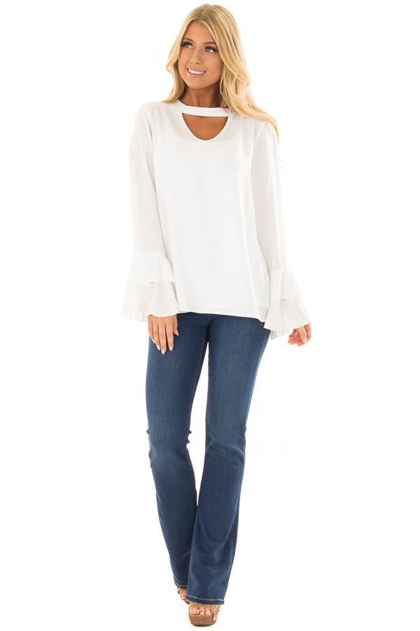 Ivory Blouse with Choker Cut Out and Tiered Bell Sleeves front full body