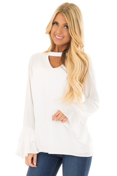 Ivory Blouse with Choker Cut Out and Tiered Bell Sleeves front close up