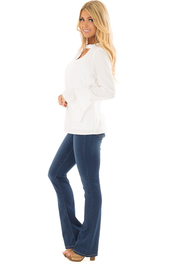 Ivory Blouse with Choker Cut Out and Tiered Bell Sleeves side full body