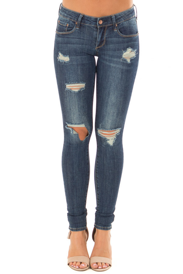 Dark Wash Distressed Cropped Skinny Jeans front view