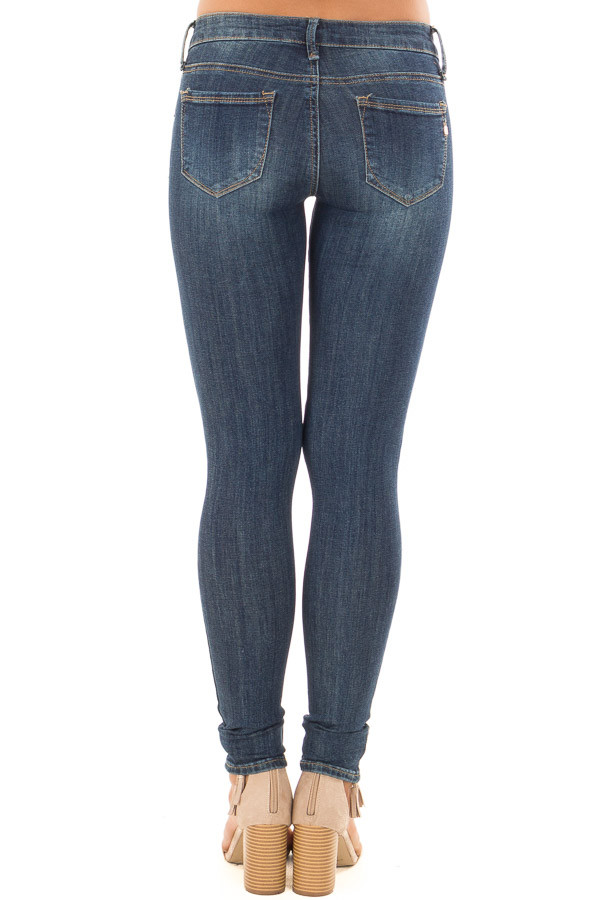 Dark Wash Distressed Cropped Skinny Jeans back view