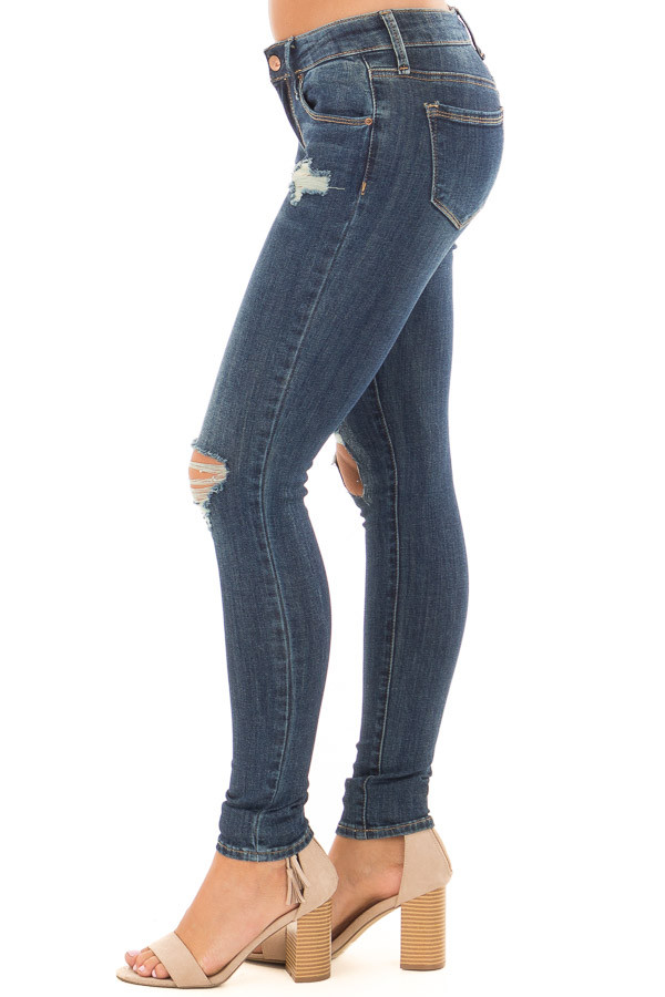 Dark Wash Distressed Cropped Skinny Jeans side view