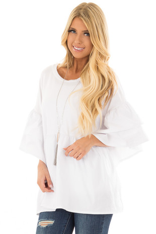 White Oversized Babydoll Top with Tiered Bell Sleeves front close up