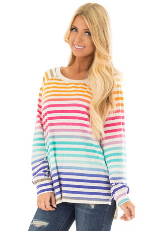 Multicolor Striped Top with Taupe Contrast front close up