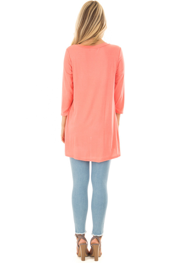 Coral Ribbed Knit 3/4 Sleeve Tunic back full body