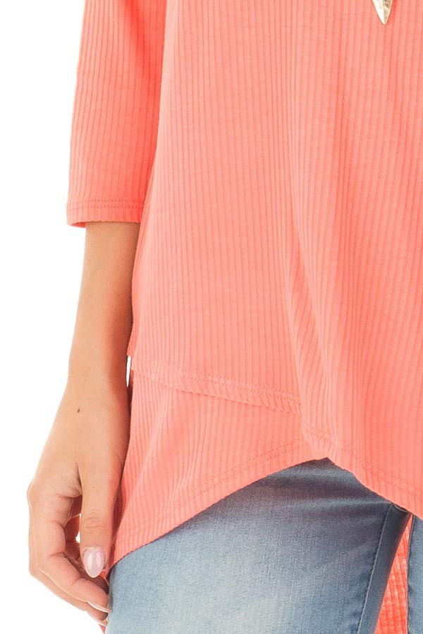 Coral Ribbed Knit 3/4 Sleeve Tunic detail