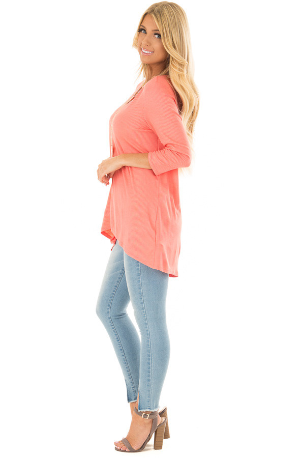Coral Ribbed Knit 3/4 Sleeve Tunic side full body