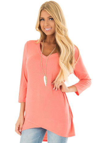 Coral Ribbed Knit 3/4 Sleeve Tunic front close up