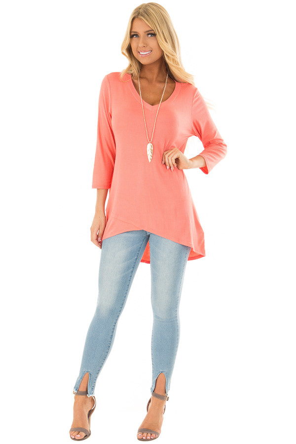 Coral Ribbed Knit 3/4 Sleeve Tunic front full body