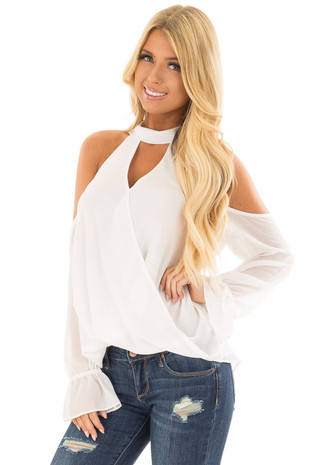 Off White Cold Shoulder Surplice Blouse with Bell Sleeves front close up