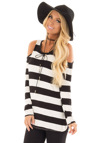 Ivory and Black Striped Cold Shoulder Top front close up