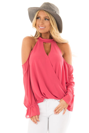 Rose Cold Shoulder Surplice Blouse with Bell Sleeves front close up