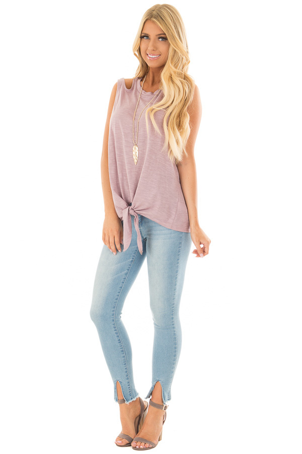 Lilac Tank Top With Double Straps and Tie Front front full body