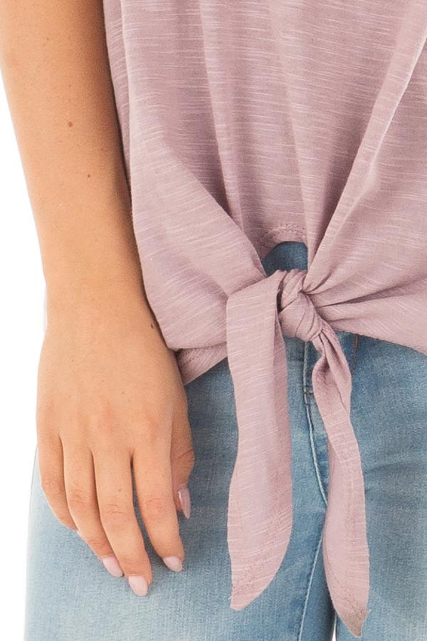 Lilac Tank Top With Double Straps and Tie Front detail